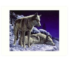 Night Watch - Wolves Oil Painting Art Print