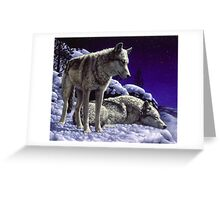 Night Watch - Wolves Oil Painting Greeting Card