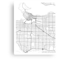 Vancouver Map, Canada - Black and White Canvas Print