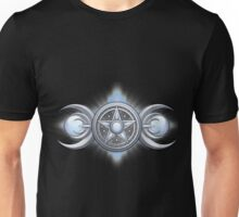 Pentacle Triple Goddess in Silver and Moonstone Unisex T-Shirt