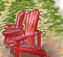 Red Chairs at Banff Sticker
