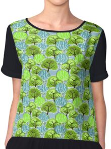 Vintage, Retro Pattern of Trees, in blue and green Chiffon Top
