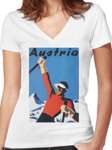 Vintage Austria Winter Sport Skiing Travel Poster Women's Fitted V-Neck T-Shirt