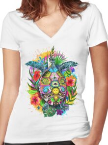 Hang Loose Turtle Women's Fitted V-Neck T-Shirt