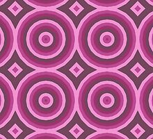 Big Pink & Burgundy Hypnotic Circle Design by Mercury McCutcheon