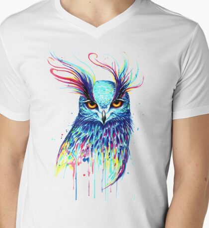 Mystical Owl Mens V-Neck T-Shirt