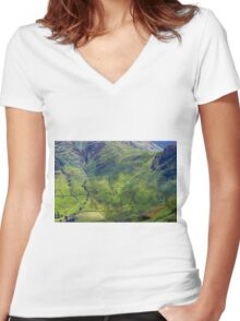Side Pike From Stickle Ghyll, Great Langdale,Lake District Women's Fitted V-Neck T-Shirt
