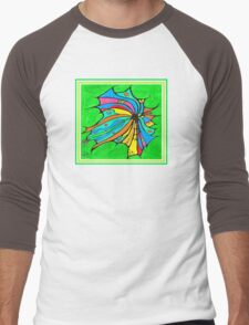 FlutterBy Transparent Overlay Men's Baseball ¾ T-Shirt