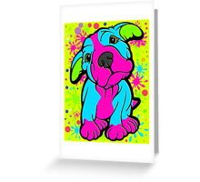 Colourful Pit Bull Puppy  Greeting Card
