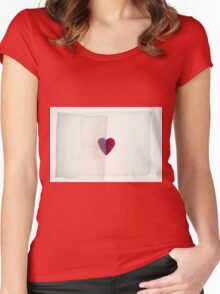 Fragile red heart, protected and semi hidden by white crumpled tissue paper Women's Fitted Scoop T-Shirt