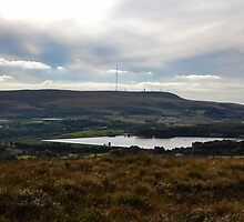 Winter Hill Looking Across Delph Reservoir. by Dave Staton