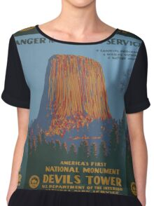 National Park Service WPA Poster - Devil's Tower Chiffon Top