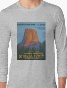 National Park Service WPA Poster - Devil's Tower Long Sleeve T-Shirt