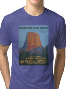 National Park Service WPA Poster - Devil's Tower Tri-blend T-Shirt