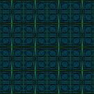 Dark Teal Blue Circles Pattern by donnagrayson