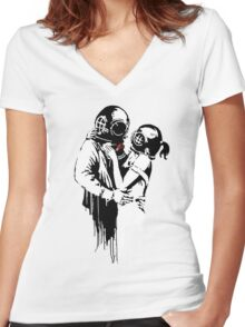 Banksy - Think Tank Women's Fitted V-Neck T-Shirt