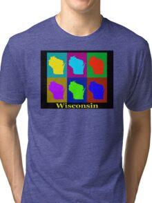 Colorful Wisconsin Pop Art Map Tri-blend T-Shirt
