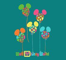 WDW Balloons Clean Throw Pillow by Florida Orange Bird