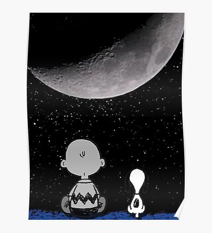 snoopy and charlie look at the moon Poster