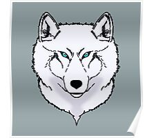 Blue eyes snow wolf Poster