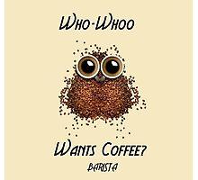 Barista Coffee Owl Photographic Print