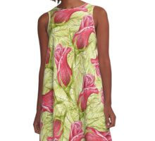 pattern leaves and roses. color pencil A-Line Dress