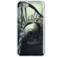 Spiral staircase in green and blue iPhone Case/Skin