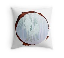 wolfs rain white wolf kiba snow woods blood ring Throw Pillow