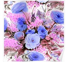 Blue watercolor flowers Poster