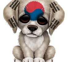 Cute Patriotic South Korean Flag Puppy Dog by Jeff Bartels