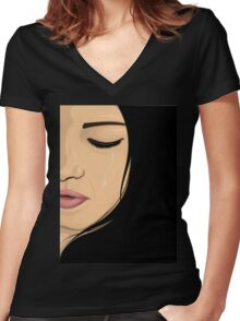 Crying Girl Women's Fitted V-Neck T-Shirt
