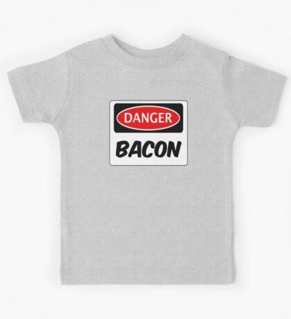 DANGER BACON FUNNY FAKE SAFETY DANGER SIGN Kids Tee