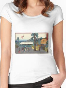 Numazu - Hiroshige Ando - 1838 - woodcut Women's Fitted Scoop T-Shirt