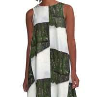 Green and White . A-Line Dress