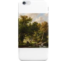 Barend Cornelis Koekkoek, Landscape with Trees and Cows by a Stream iPhone Case/Skin