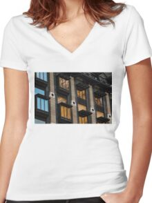 Big Ben Abstract - The Iconic Clock Reflected On A Wall Of Windows Women's Fitted V-Neck T-Shirt