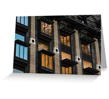 Big Ben Abstract - The Iconic Clock Reflected On A Wall Of Windows Greeting Card