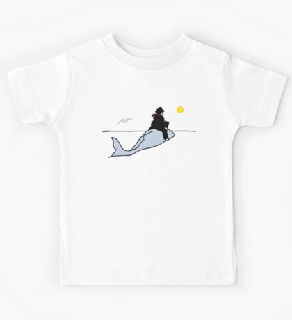 Business man riding a whale toward the morning or the sunset, with seagull Kids Tee