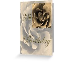 Happy 20th Birthday Rose in Sepia Greeting Card