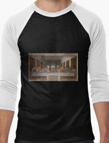 The Last Supper by Leonardo Da Vinci (c. 1498) Men's Baseball ¾ T-Shirt
