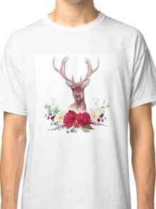 Deer and elegant autumn horizontal floral bouquet vector design objects. Classic T-Shirt