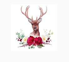 Deer and elegant autumn horizontal floral bouquet vector design objects. Unisex T-Shirt