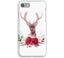 Deer and elegant autumn horizontal floral bouquet vector design objects. iPhone Case/Skin