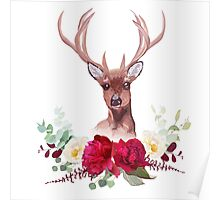 Deer and elegant autumn horizontal floral bouquet vector design objects. Poster