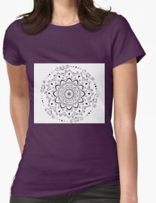 Simple black and white mandala Womens Fitted T-Shirt