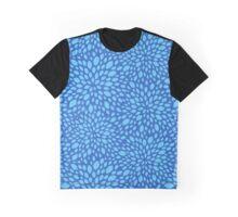 Blue Floral Pattern, Blue Flower Print Graphic T-Shirt