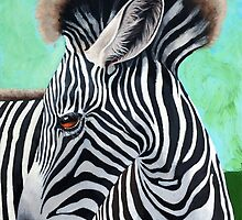 Baby Zebra - wild animal art painting by LindaAppleArt