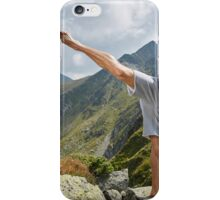 Kickboxer or muay thai fighter training on a mountain iPhone Case/Skin
