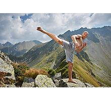 Kickboxer or muay thai fighter training on a mountain Photographic Print