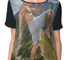 Kickboxer or muay thai fighter training on a mountain Chiffon Top